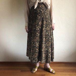 [vintage] pure silk autumnal floral maxi skirt